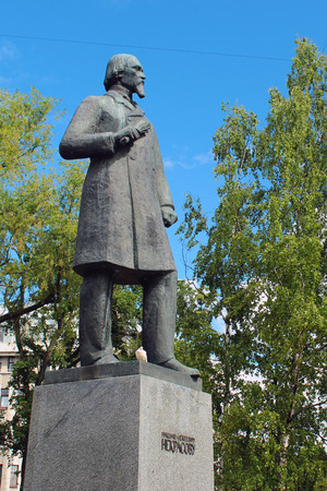 nikolay: SAINT PETERSBURG, RUSSIA - JULY 6, 2017: Monument to Nikolay Nekrasov, a Russian poet, writer, critic and publisher of 19th century.