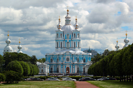 bartolomeo rastrelli: SAINT PETERSBURG, RUSSIA - JULY 6, 2017: Smolny Cathedral in the Smolny Convent of the Resurrection, designed by Bartolomeo Rastrelli and built in the mid-18th century.