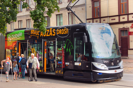 moderm: Riga, Latvia - July 10, 2017: Riga trams are moderm, fast and comfortable public transportation system, popular among locals and tourists.