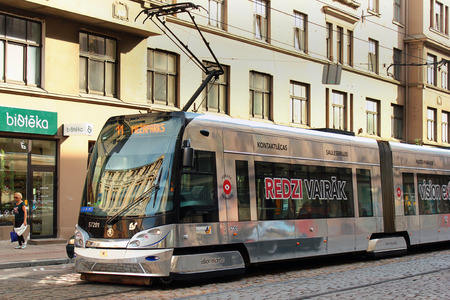 moderm: Riga, Latvia - July 11, 2017: Riga trams are moderm, fast and comfortable public transportation system, popular among locals and tourists.