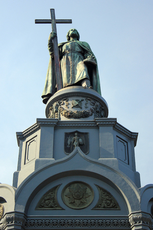 Kyiv, Ukraine - September 22, 2017: Monument to Saint Prince Volodymyr, dedicated to the Great Prince of Kiev Vladimir the Great, built in 1853. The Baptizer of the Rus people holds a big cross in his right hand. Editöryel