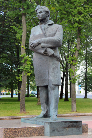 Minsk, Belarus - July 14, 2017: Monument to Maksim Bahdanovic, a famous Belarusian poet, journalist and translator. Sculpture by Siargei Vakar installed near Opera and Ballet Theatre.