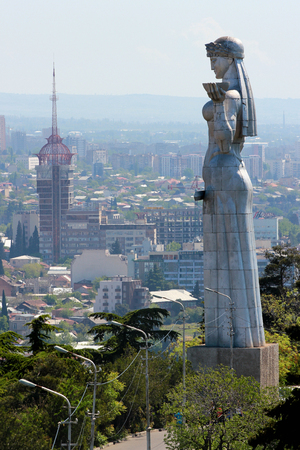 Tbilisi, Georgia - May 1, 2017: Kartlis Deda, or Mother Georgia monument, erected on top of Sololaki hill in 1958, the year Tbilisi celebrated its 1500th anniversary. Stock fotó - 91572930