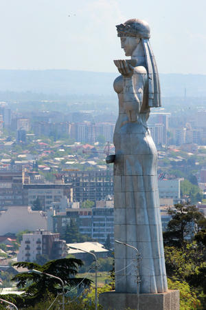 Tbilisi, Georgia - May 1, 2017: Kartlis Deda, or Mother Georgia monument, erected on top of Sololaki hill in 1958, the year Tbilisi celebrated its 1500th anniversary.