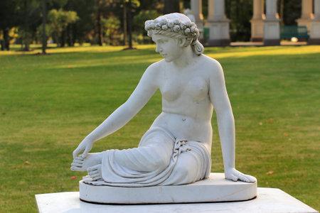 Novi Petrivtsi, Ukraine - September 22, 2017: Marble sculptures in classical style, installed in Mezhyhirya museum, the residence of Ukrainian ex-president Viktor Yanukovych.