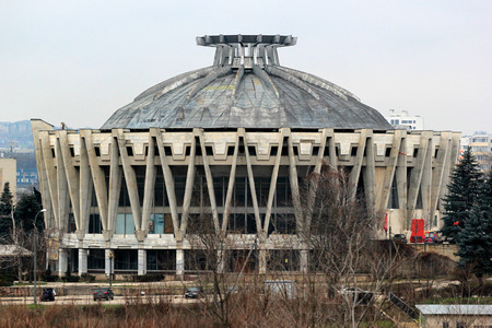 Chisinau, Moldova - December 17, 2017: Abandoned building of Chisinau circus, built in 1981. It was the most beautiful circus in the former USSR.