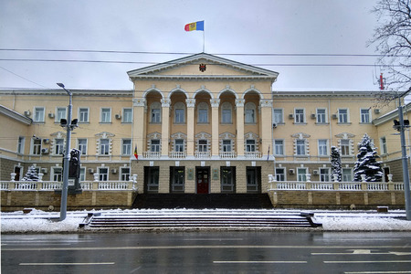 Chisinau, Moldova - December 18, 2017: Building of Ministry of Internal Affairs of Moldova, one of the nine ministries of the Government of Moldova.