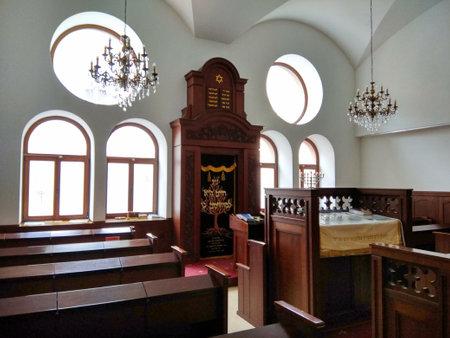 Chernivtsi, Ukraine - December 20, 2017: Interior of Main Synagogue of Bukovyna named after Israel and Zelda Maiberg, located on Sadovskogo street.