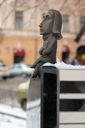 Chernivtsi, Ukraine - December 21, 2017: Monument to Franz Liszt, a prolific 19th-century Hungarian composer, virtuoso pianist and conductor. In 1847 Liszt went to Chernivtsi where he gave three concerts. Editorial