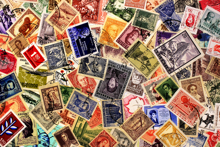 KHARKIV,UKRAINE - MARCH 5,2018: Old post stamps of Argentina. Postage stamp collection background.
