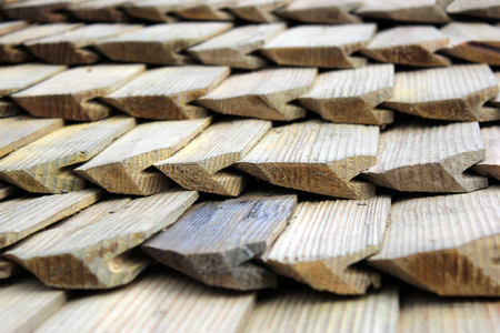 Wooden shingles closeup, roofing background