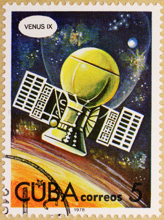 KHARKIV, UKRAINE - MARCH 5, 2018: Post stamp of Cuba, dedicated to Venus planet exploration and space flights.