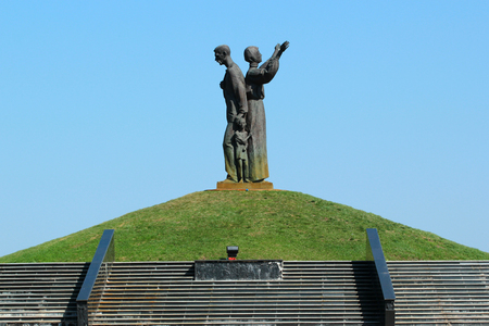 KHARKIV, UKRAINE - APRIL 21, 2018: Memorial dedicated to the victims of 1932-1933 Holodomor famine in Ukraine. Sculpture of starving peasant family by Alexander Ridnyi, installed in 2008.