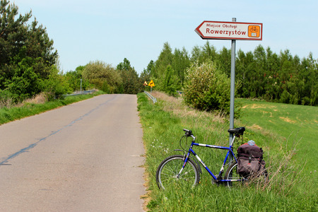 Kulikow, Poland - May 2, 2018: Sign plate of a Cyclist Service Point on Green Velo bicycle route in Eastern Poland.