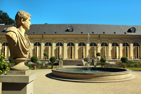 Warsaw, Poland - June 9, 2018: The Old Orangery in Lazienki Park, or Royal Baths, the largest park in Warsaw which occupies 76 hectares of the city center. Editorial