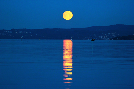 Full moon glade over Oslofjord, Norway