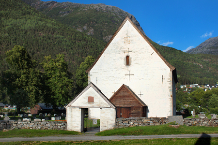 Old stone church in Kinsarvik village, Hordaland county, Norway, originally built in 1050