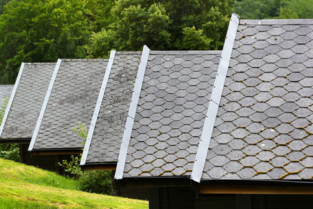 Asphalt shingle on a pitched roofs Stock Photo