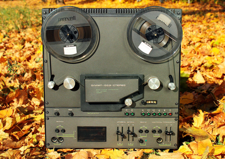 Kharkiv, Ukraine - October 19, 2018: Old Soviet-made stereo tape reel recorder Olimp-003. It was produced in the USSR since 1984.