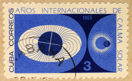 Kharkiv, Ukraine - March 5, 2017: Postal stamp of Cuba, dedicated to The Year of the Quiet Sun, a Sun-related observational programs performed in 1964 and 1965. Editorial