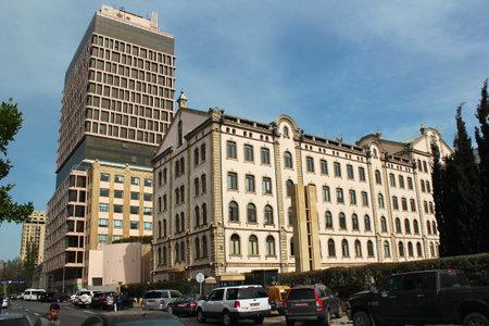 Baku, Azerbaijan - April 24, 2017: Embassy of the United Kingdom in Azerbaijan and Landmark Hotel and Business Center buildings in central Baku. View from Nizami street. Editorial