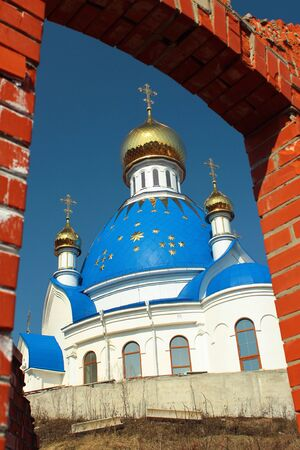 Vodyane, Ukraine - April 7, 2018: Transfiguration church in Saint Boris and Gleb Orthodox women monastery in Vodyane, located in Zmiiv region of Kharkiv Oblast, Ukraine. Editorial