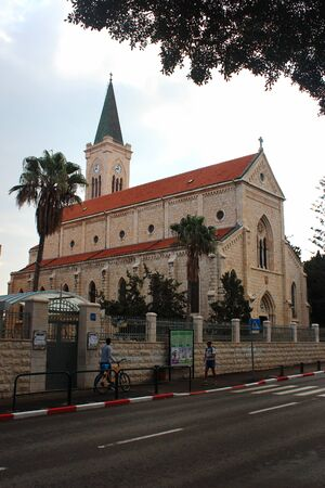 Tel Aviv, Israel - December 7, 2013: St. Anthony Catholic Parish Church in Jaffa, Tel-Aviv, Israel. Named in honor of St. Anthony of Padua, a priest of the Franciscan Order, Portuguese preacher and theologian.