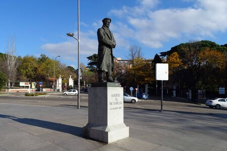Madrid, Spain - December 8, 2016: Monument to Pio Baroja y Nessi, a Spanish writer, one of the key novelists of the Generation of 98.