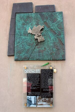 Warsaw, Poland - May 1, 2019: Memorial plaque on the place where the wall of the Warsaw Jewish ghetto was located during the Second World War.