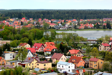 Townscape of Goldap town, Warmian-Masurian Voivodeship, Poland. View from the water tower.