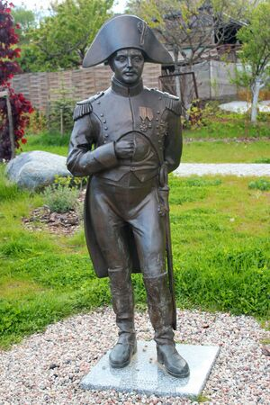 Lidzbark Warminski, Poland - May 6, 2019: Statue of Napoleon Bonaparte in Lidzbark Warminski, former Heilsberg, where in 1807 a battle took place between the French and the Russians.