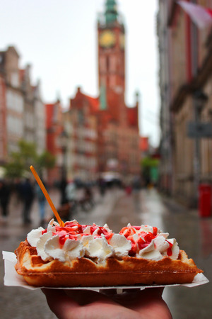 Polish traditional waffles (gofry) at a street cafe in Gdansk, Poland Stock Photo