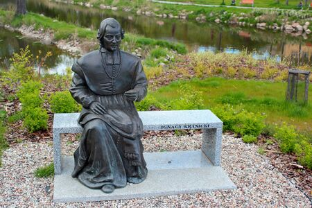 Lidzbark Warminski, Poland - May 6, 2019: Statue of Ignacy Krasicki, Prince-Bishop of Warmia and Archbishop of Gniezno who was Polands leading Enlightenment poet, playwright and author of the first P