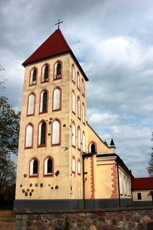 St. Antoni Padewski parish church in Banie Mazurskie village, Goldap powiat, Warmian-Masurian Voivodeship in Poland