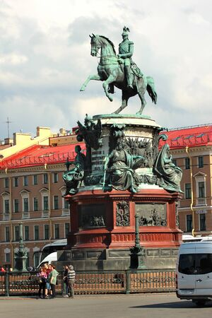 Saint Petersburg, Russia - July 4, 2017: Bronze monument of Tsar Nicholas I on Saint Isaacs Square in Saint Petersburg, Russia. One of the few equestrian statues in the world with merely two support points. Editorial
