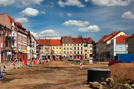 Bartoszyce, Poland - May 6, 2019: View of main Constitution square being reconstructed in the center of Bartoszyce, Warmian-Masurian Voivodeship, Poland Editöryel