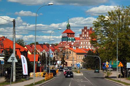 Bartoszyce, Poland - May 6, 2019: View of Old Town of Bartoszyce, Warmian-Masurian Voivodeship, Poland