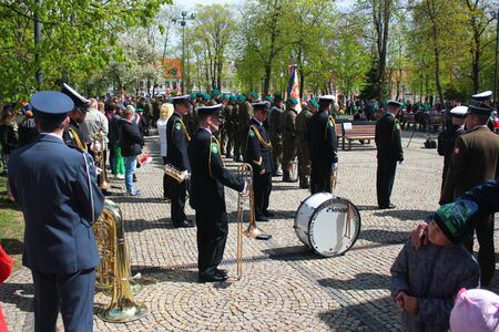 Suwalki, Poland - May 3, 2019: Anniversary celebrations of Constitution of 3 May 1791 in central Suwalki, on Constitution of 3 May square. Editöryel