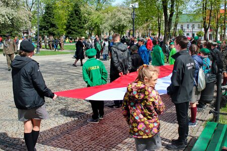Suwalki, Poland - May 3, 2019: Anniversary celebrations of Constitution of 3 May 1791 in central Suwalki, on Constitution of 3rd May square.