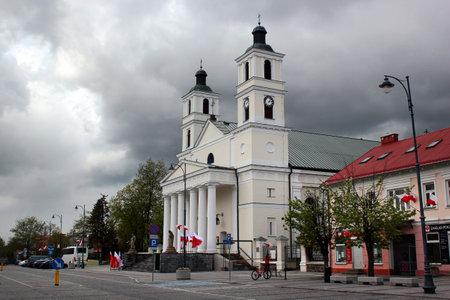 Suwalki, Poland - May 3, 2019: Co-cathedral of St Alexander in Suwalki, built in 1825.