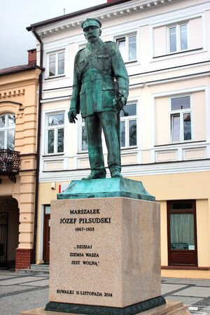 Suwalki, Poland - May 3, 2019: Monument to Jozef Pilsudski, the First Marshal of Poland, on Square of Constitution of May 3rd in the central Suwalki. Editöryel