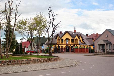 Przerosl, Poland - May 3, 2019: View of central Market Square in Przerosl, a village in Suwalki County, Podlaskie Voivodeship, in north-eastern Poland. Editöryel
