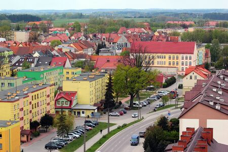 Goldap, Poland - May 4, 2019: Townscape of Goldap town, Warmian-Masurian Voivodeship, Poland. View from the water tower.