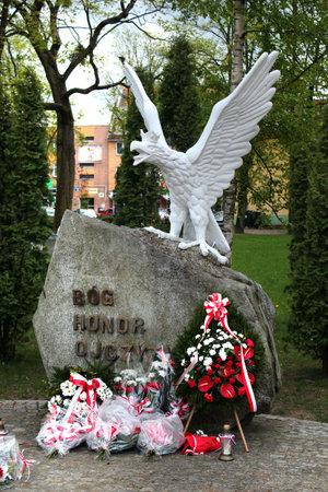 Goldap, Poland - May 4, 2019: Monument to the White Eagle in the center of Goldap town, Warmian-Masurian Voivodeship, Poland.