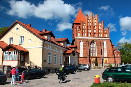 Gorowo Ilaweckie, Poland - May 7, 2019: Exaltation of the Holy Cross church and a vicarage where Napoleon Bonaparte spent the night in 1807.