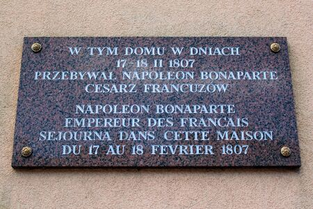 Gorowo Ilaweckie, Poland - May 7, 2019: A memorial plaque on the vicarage where Napoleon Bonaparte spent the night in 1807. Editöryel