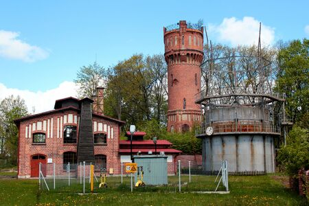 Gorowo Ilaweckie, Poland - May 7, 2019: Former municipal gas factory, established in 1908 in then German town of Landsberg, now The Gas Industry Museum of Warmia and Mazury. Editöryel