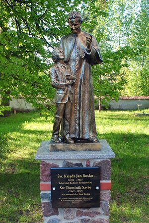 Satoczno, Poland - May 5, 2019: Statue of John Bosco, an Italian Roman Catholic priest, educator and writer. Located at church of Christ the King in Satoczno village, northern Poland.
