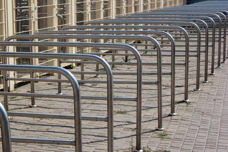Metal railings at stadium entrance gates