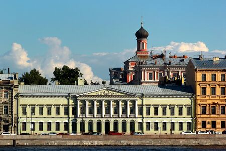 View of English Embankment, historically one of the most fashionable streets in Saint Petersburg, Russia Фото со стока